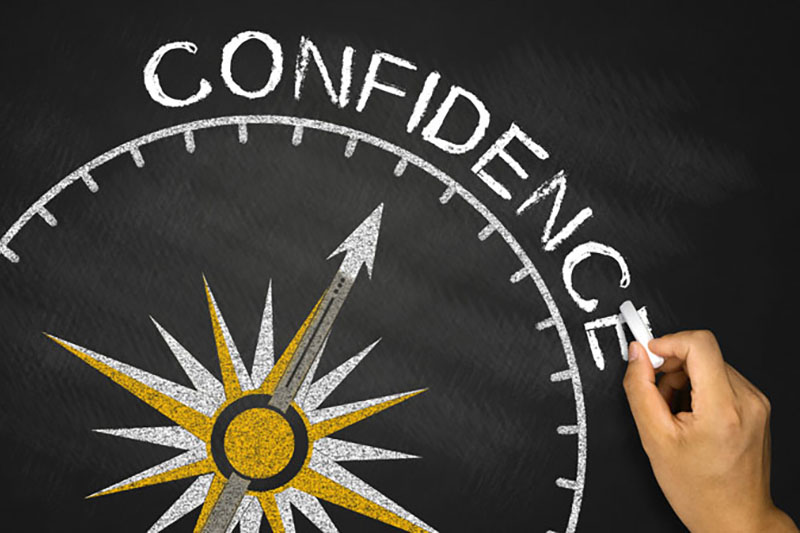 confidence concept with a compass